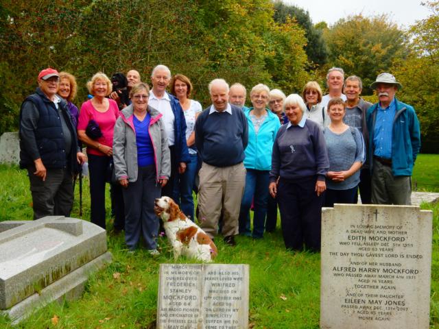 At the grave of Frederick Mockford in Selmeston graveyard